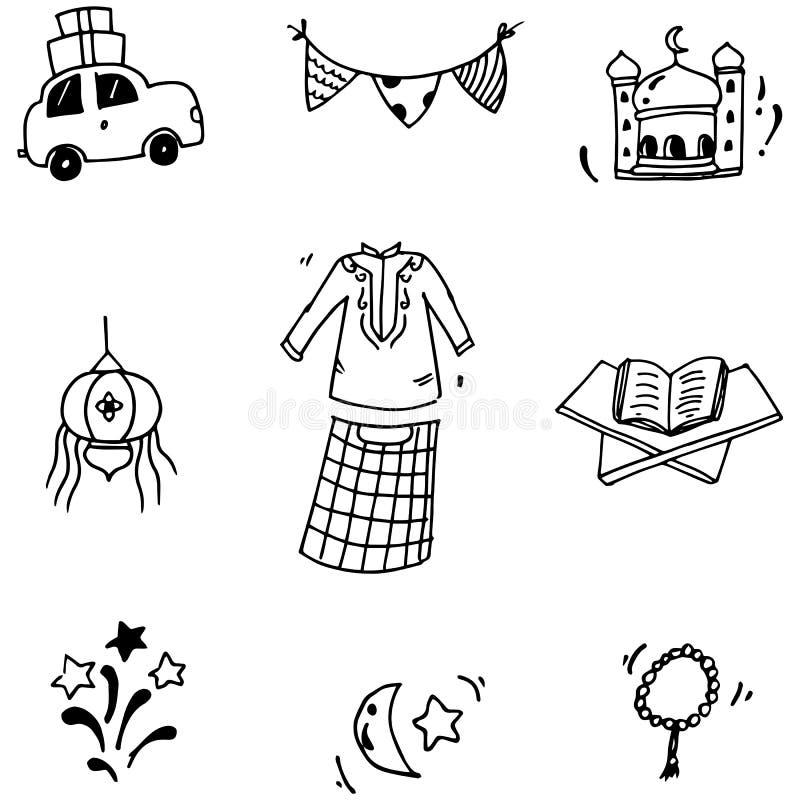 Στοιχείο eid Mubarak στο doodle ελεύθερη απεικόνιση δικαιώματος