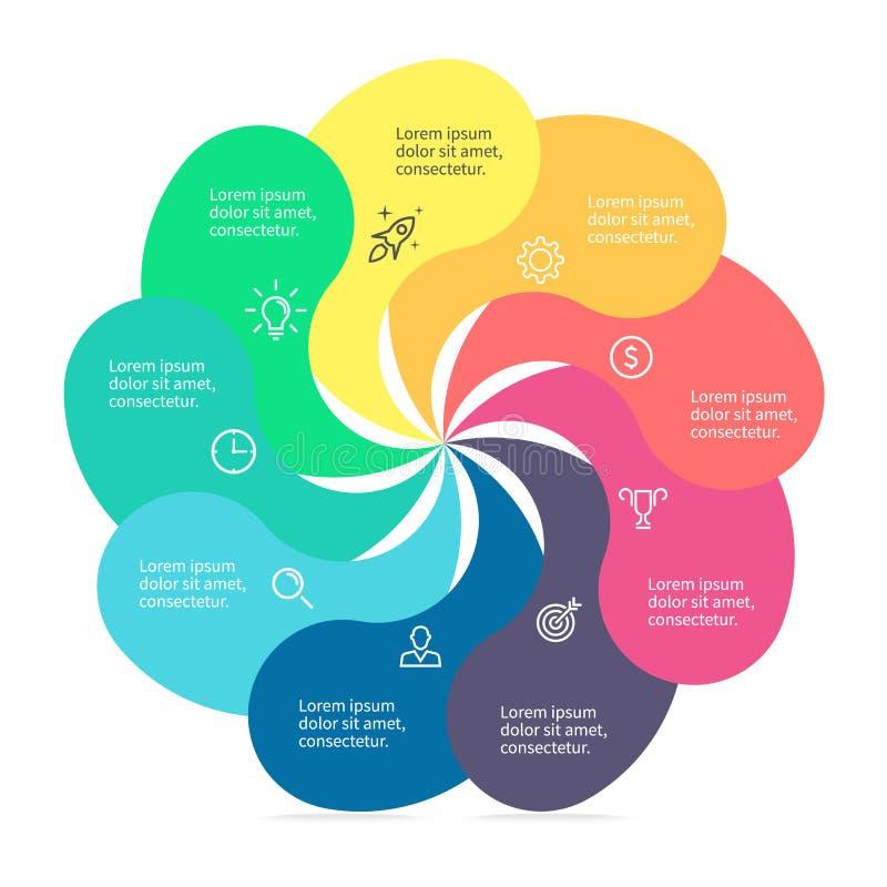 Στοιχείο Infographic με τα στριμμένα πέταλα διανυσματική απεικόνιση