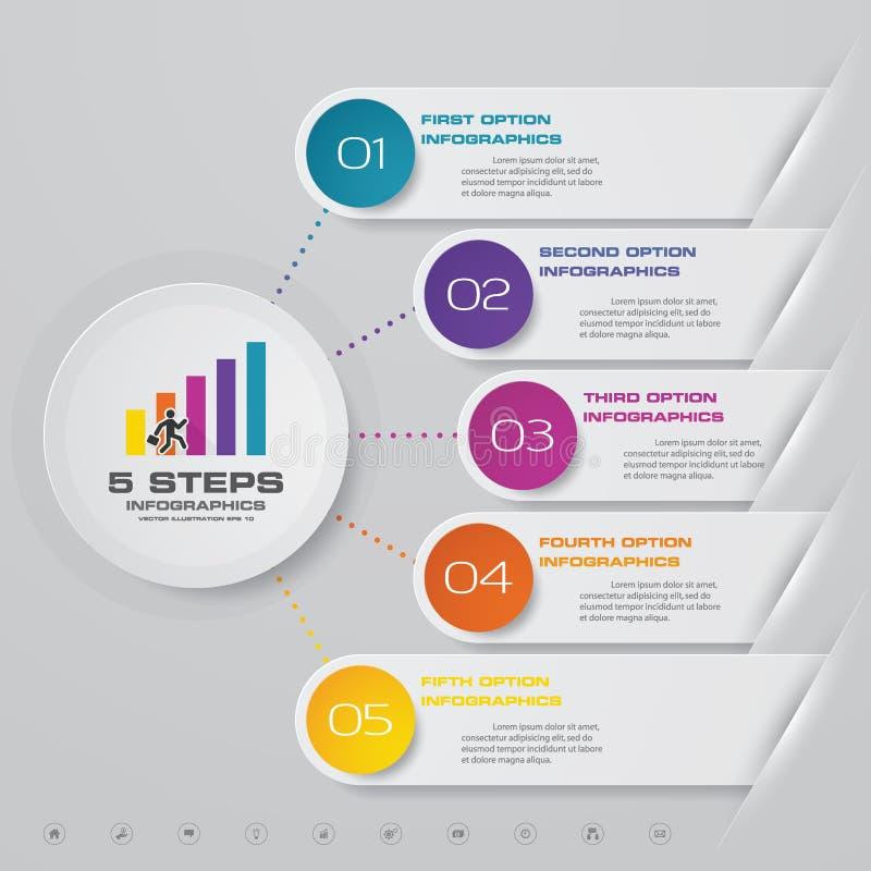 στοιχείο infographics διαδικασίας 5 βημάτων για την παρουσίαση ελεύθερη απεικόνιση δικαιώματος