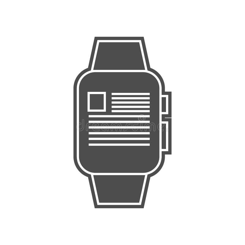 φορέας σε ένα έξυπνο εικονίδιο ρολογιών Στοιχείο minimalistic για το κινητό εικονίδιο έννοιας και Ιστού apps Glyph, επίπεδο εικον ελεύθερη απεικόνιση δικαιώματος