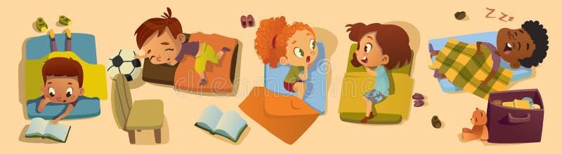 Στοιχειώδης απεικόνιση χαρακτήρα ώρας για ύπνο κατηγορίας Πολυφυλετικός χρόνος NAP παιδιών παιδικών σταθμών, κουτσομπολιό φίλων κ διανυσματική απεικόνιση