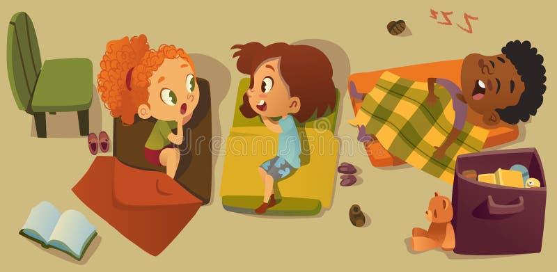 Στοιχειώδης απεικόνιση χαρακτήρα ώρας για ύπνο κατηγορίας Πολυφυλετικός χρόνος NAP παιδιών παιδικών σταθμών, κουτσομπολιό φίλων κ απεικόνιση αποθεμάτων