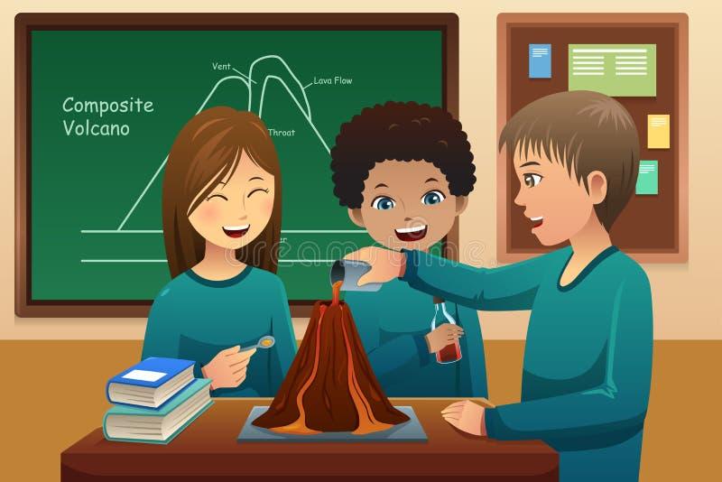 Στοιχειώδεις σπουδαστές που κάνουν ένα πείραμα ηφαιστείων διανυσματική απεικόνιση