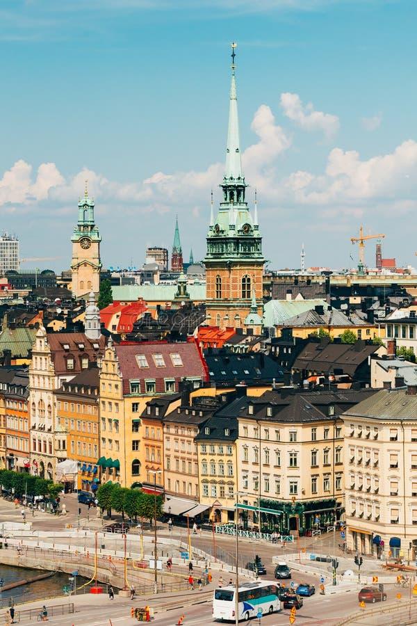Στοκχόλμη Σουηδία Φυσική τοπ άποψη της εικονικής παράστασης πόλης Ψηλό καμπαναριό της γερμανικής εκκλησίας ή του ST Γερτρούδη ` s στοκ εικόνες