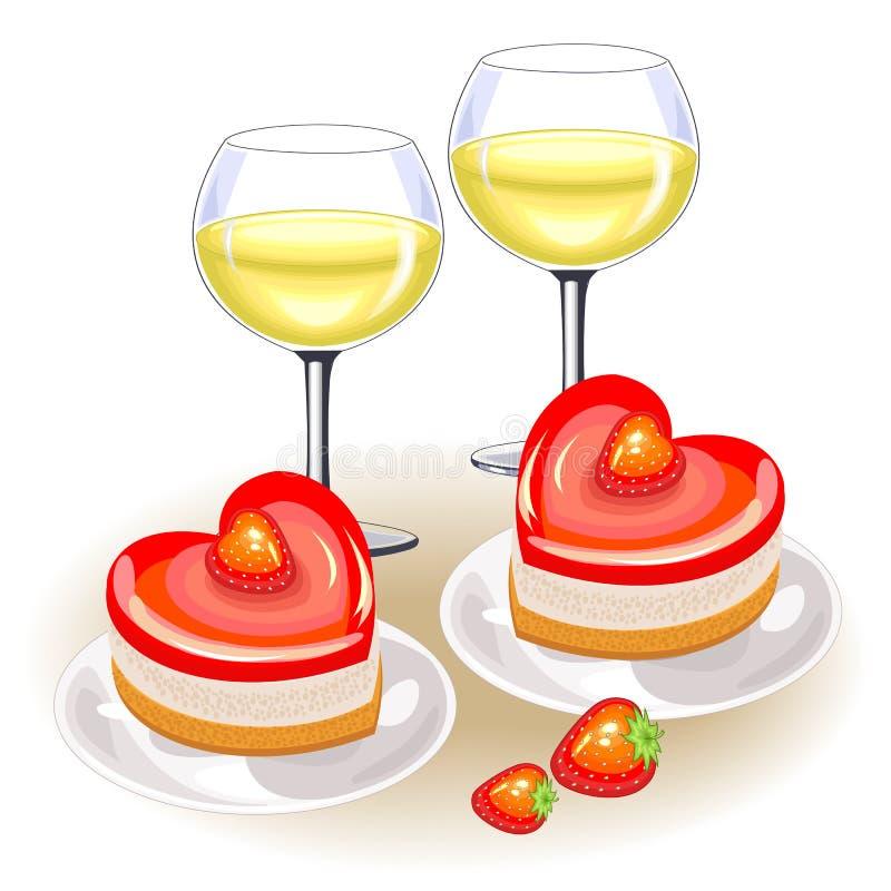 Στον εορταστικό πίνακα, δύο ποτήρια του άσπρου κρασιού Ρομαντικό κέικ με μορφή της καρδιάς Κατάλληλος για τους εραστές την ημέρα  απεικόνιση αποθεμάτων