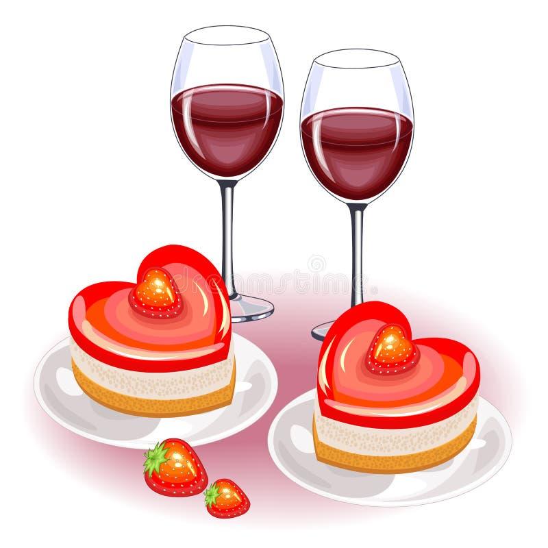 Στον εορταστικό πίνακα, δύο ποτήρια του κόκκινου κρασιού και των φρούτων Ρομαντικό κέικ με μορφή της καρδιάς Κατάλληλος για τους  ελεύθερη απεικόνιση δικαιώματος