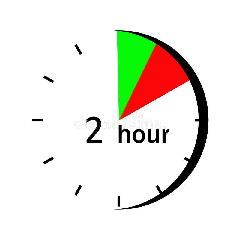 Στον πίνακα ρολογιών στους κόκκινους και πράσινους χαρακτηρισμένους τομείς 2 ωρών διανυσματική απεικόνιση