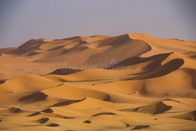 Στους αμμόλοφους Erg Chebbi κοντά σε Merzouga στο νοτιοανατολικό Μαρόκο στοκ εικόνα