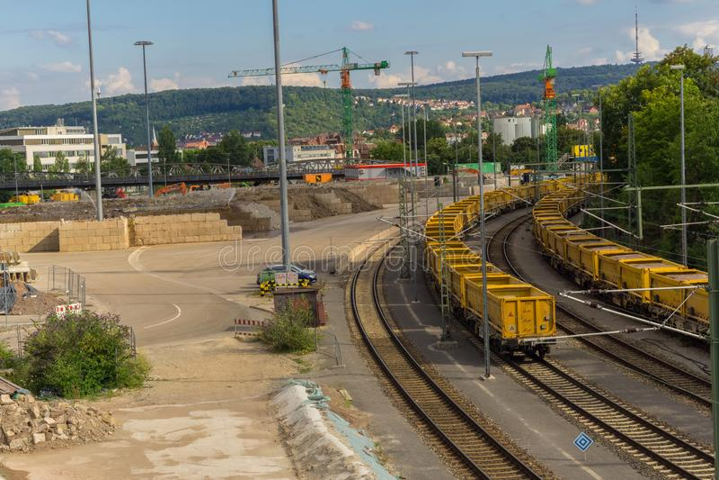 ΣΤΟΥΤΓΑΡΔΗ, ΓΕΡΜΑΝΙΑΣ - 11,2018 ΙΟΥΛΙΟΥ: Το Nordbahnhof αυτό είναι η βιομηχανική περιοχή του σταθμού τρένου, στοκ φωτογραφία με δικαίωμα ελεύθερης χρήσης