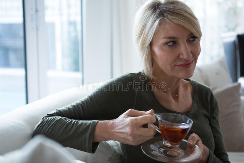 Στοχαστική γυναίκα που έχει το τσάι λεμονιών στο καθιστικό στοκ εικόνες με δικαίωμα ελεύθερης χρήσης