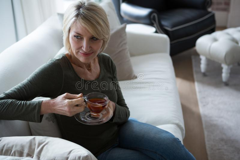 Στοχαστική γυναίκα που έχει το τσάι λεμονιών στο καθιστικό στοκ φωτογραφίες