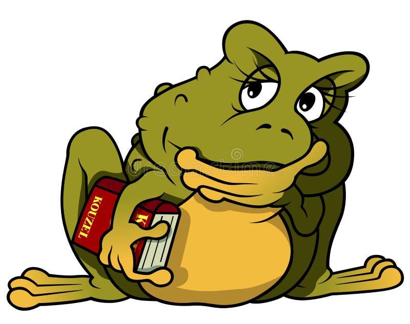 Στοχαστικός βάτραχος με το βιβλίο απεικόνιση αποθεμάτων