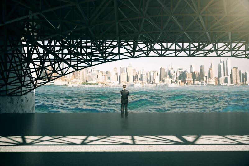 Στοχαστικός επιχειρηματίας κάτω από τη γέφυρα απεικόνιση αποθεμάτων