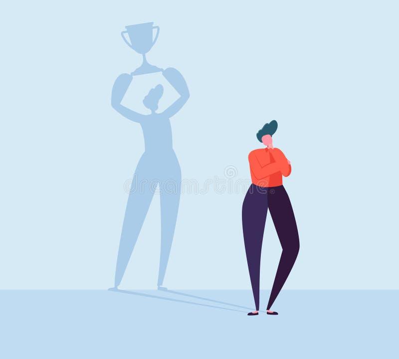 Στοχαστικός επιχειρηματίας με τη σκιά νικητών Αρσενικός χαρακτήρας με τη σκιαγραφία του ατόμου με το βραβείο Ηγεσία, επίτευγμα απεικόνιση αποθεμάτων