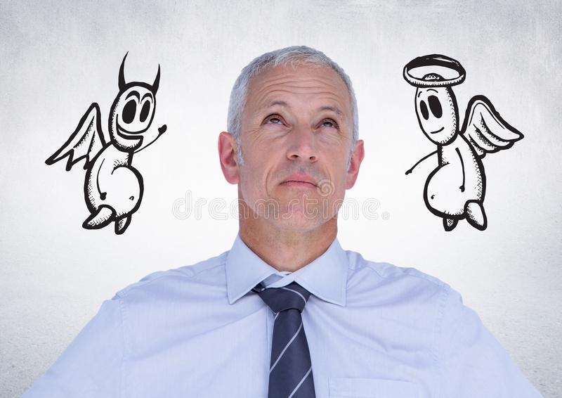 Στοχαστικός επιχειρηματίας με τον άγγελο και διάβολος doodle στο υπόβαθρο στοκ φωτογραφία με δικαίωμα ελεύθερης χρήσης