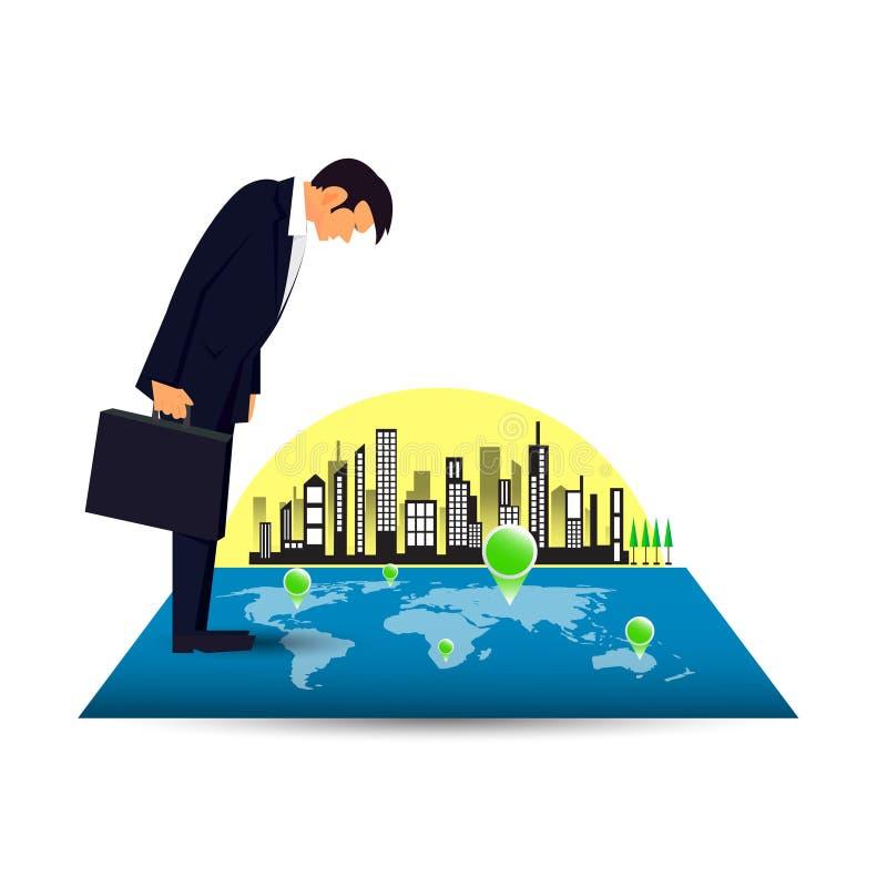 Στοχαστικός επιχειρηματίας που εξετάζει το χάρτη με τους στόχους στο υπόβαθρο πόλεων ελεύθερη απεικόνιση δικαιώματος