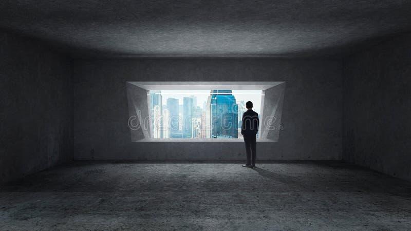Στοχαστικός επιχειρηματίας που στέκεται στο κενό διαστημικό συγκεκριμένο δωμάτιο στοκ εικόνα
