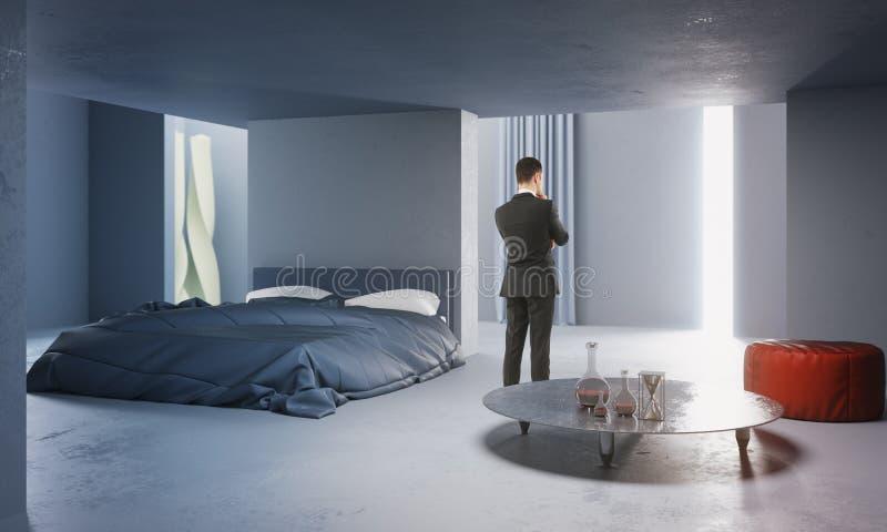 Στοχαστικός επιχειρηματίας στη συγκεκριμένη κρεβατοκάμαρα διανυσματική απεικόνιση