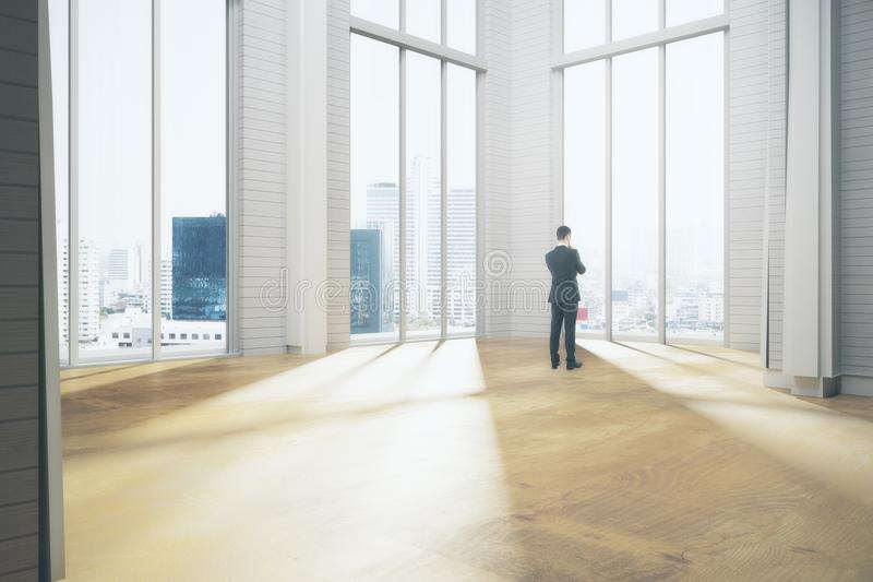Στοχαστικός επιχειρηματίας στο δωμάτιο διανυσματική απεικόνιση