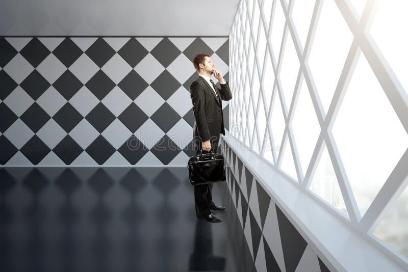 Στοχαστικός επιχειρηματίας στο εσωτερικό σκακιερών διανυσματική απεικόνιση
