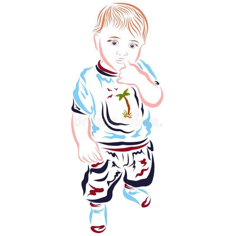 Στοχαστικός λίγο παιδί στα θερινά ενδύματα που κρατά ένα δάχτυλο στο στόμα του ελεύθερη απεικόνιση δικαιώματος