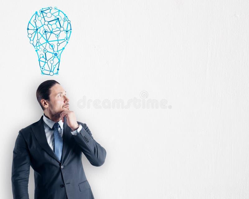 Στοχαστικός νέος επιχειρηματίας με το λαμπτήρα διανυσματική απεικόνιση