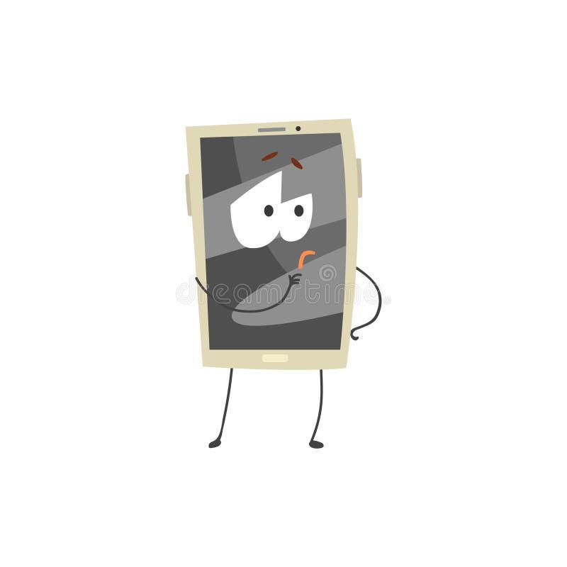 Στοχαστικός χαρακτήρας smartphone με μια γκρίζα διανυσματική απεικόνιση κινούμενων σχεδίων οθόνης, όπλων και ποδιών διανυσματική απεικόνιση