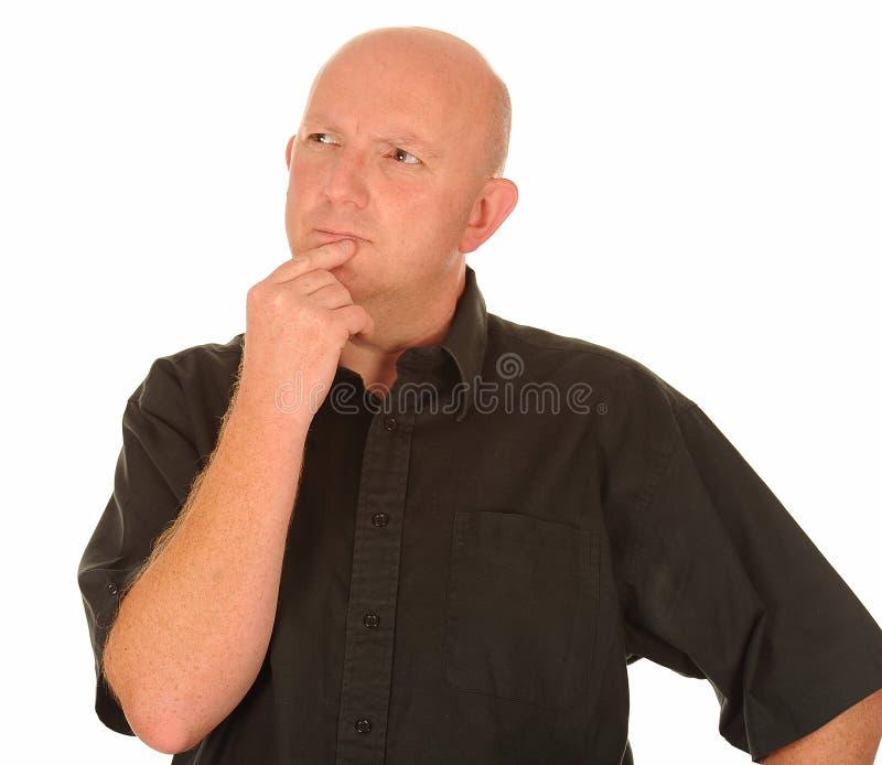 Στοχαστικό φαλακρό άτομο στοκ φωτογραφία με δικαίωμα ελεύθερης χρήσης