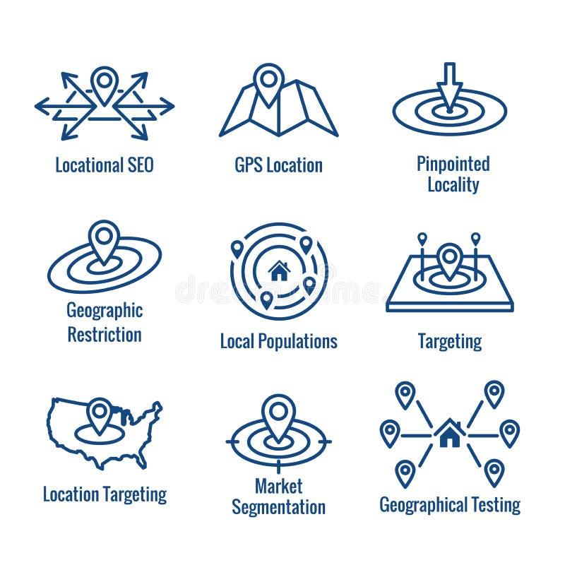 Στοχοθέτηση θέσης Geo - προσδιορισμός θέσης ΠΣΤ και σύνολο εικονιδίων Geolocation απεικόνιση αποθεμάτων