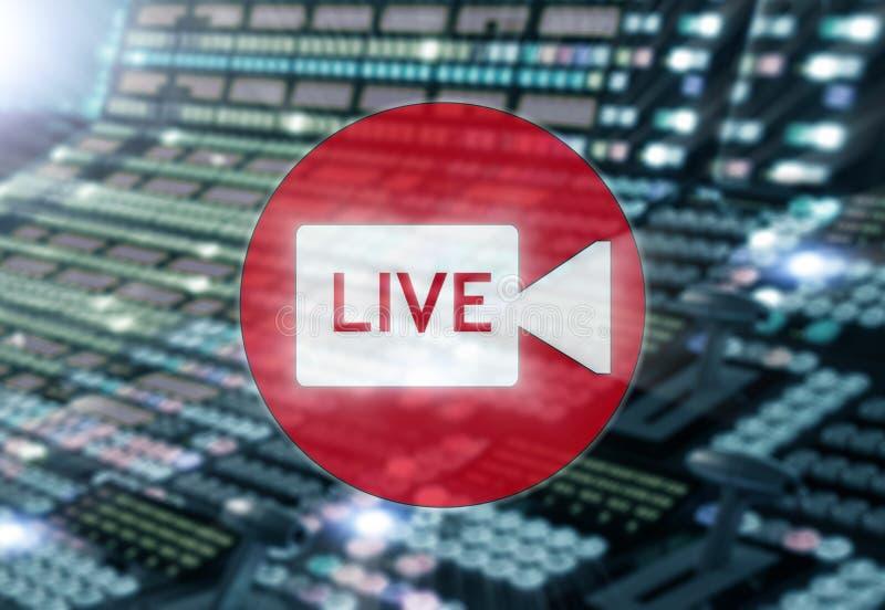 Στούντιο ραδιοφωνικής αναμετάδοσης ή ζωντανός Δωμάτιο ραδιοφωνικής μετάδοσης στο ψηφιακό υπόβαθρο πινάκων μίξης διανυσματική απεικόνιση