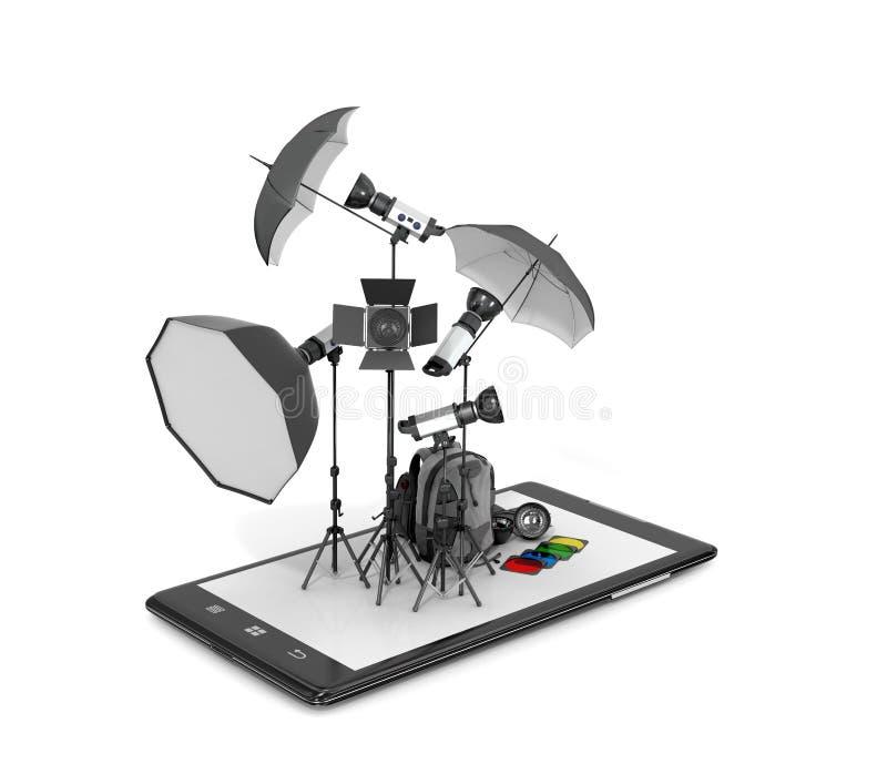 Στούντιο φωτογραφιών έννοιας, φωτογραφικός εξοπλισμός που τοποθετείται απεικόνιση αποθεμάτων
