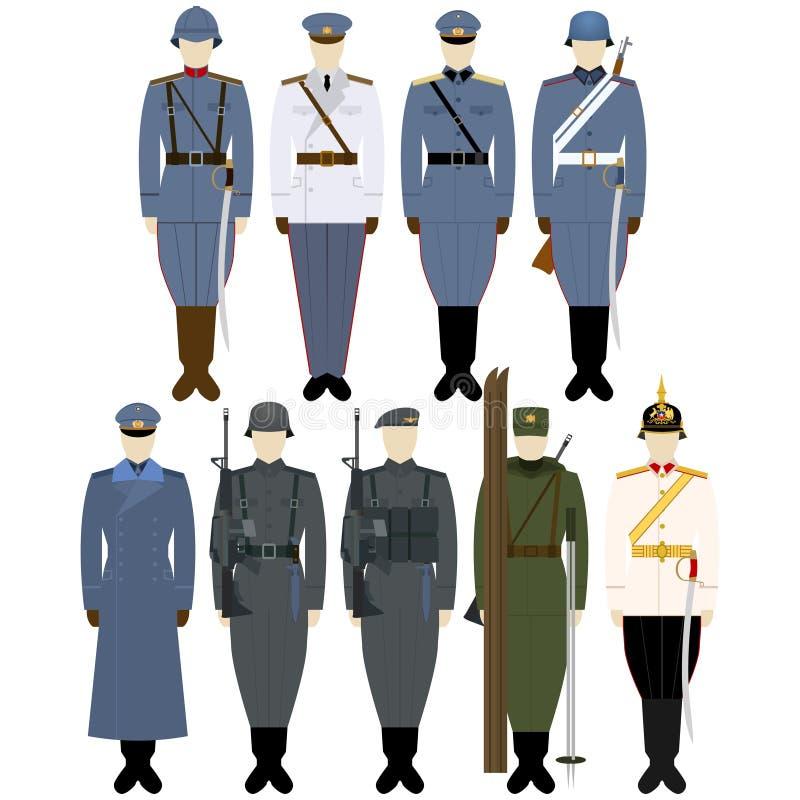 Στολές 1926-1984 Chiles στρατού διανυσματική απεικόνιση