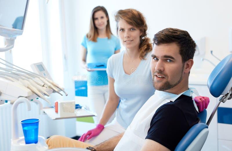 Στο γραφείο οδοντιάτρων ` s στοκ εικόνα με δικαίωμα ελεύθερης χρήσης