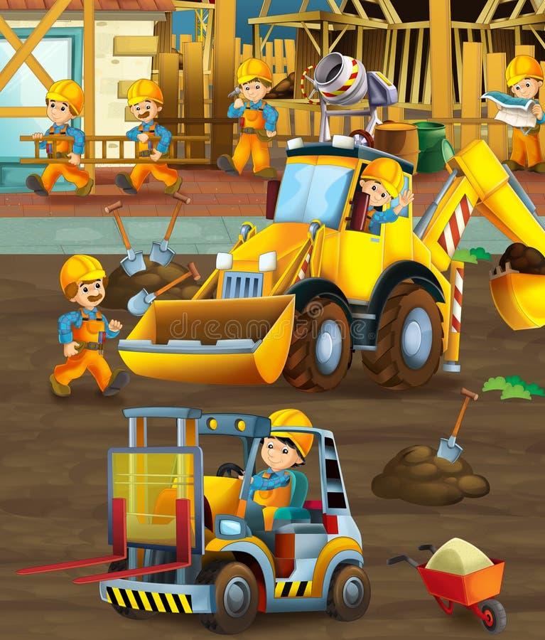 Στο εργοτάξιο οικοδομής - απεικόνιση για τα παιδιά διανυσματική απεικόνιση