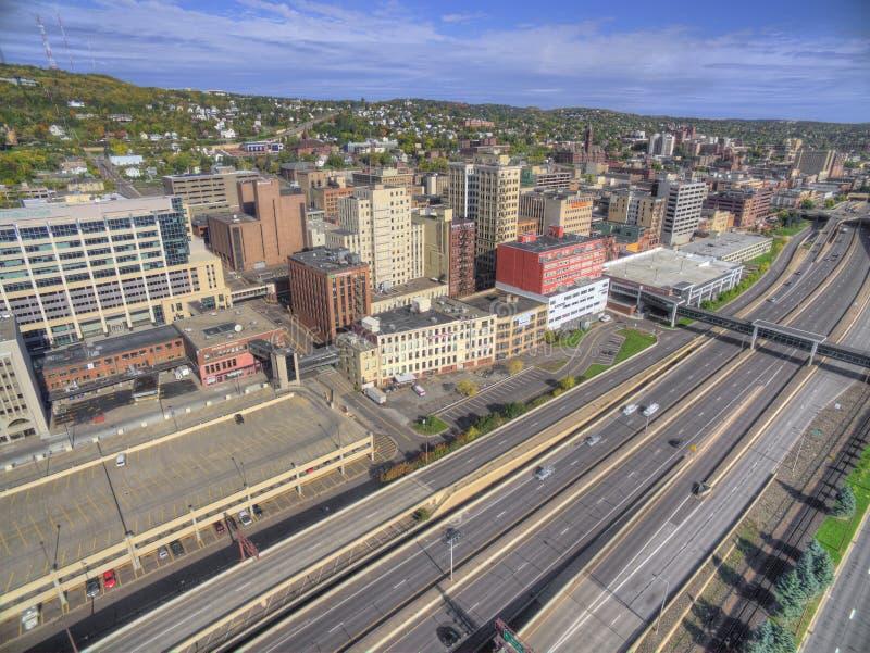 Στο κέντρο της πόλης ανώτερος Duluth και λιμνών στοκ φωτογραφίες