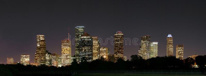 Στο κέντρο της πόλης νύχτα Pano του Χιούστον στοκ εικόνες με δικαίωμα ελεύθερης χρήσης