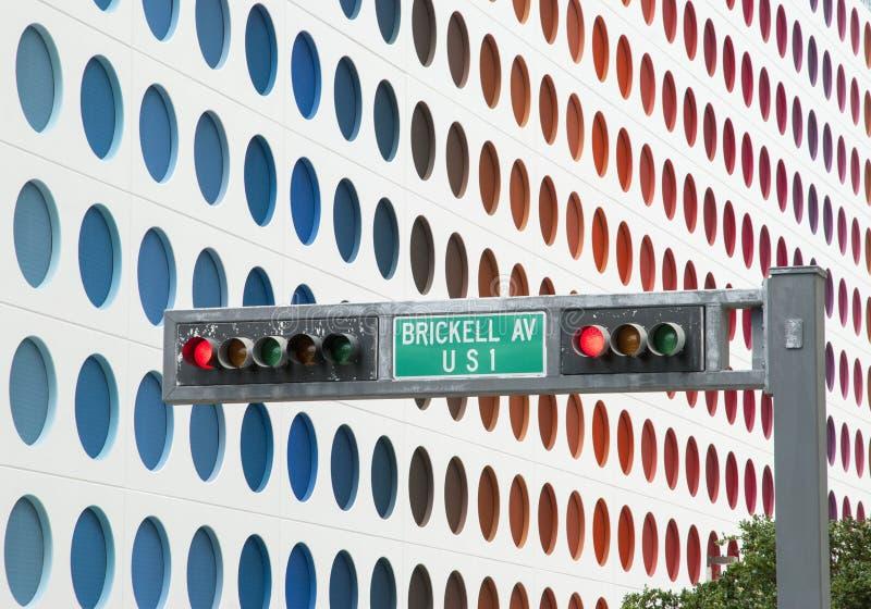 Στο κέντρο της πόλης φωτεινός σηματοδότης του Μαϊάμι στοκ φωτογραφίες