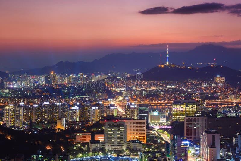 Στο κέντρο της πόλης ορίζοντας, πόλη της Σεούλ, Νότια Κορέα στοκ φωτογραφίες