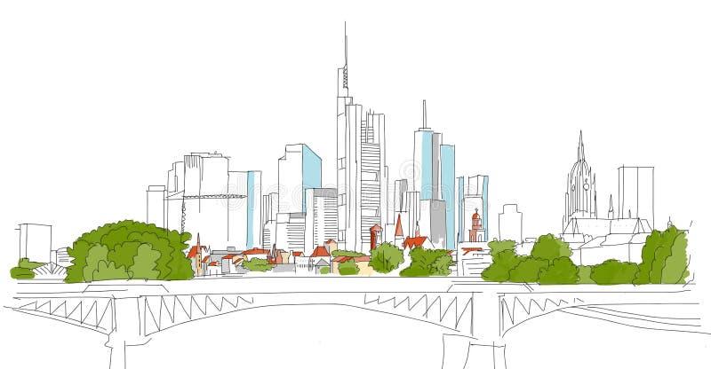 Στο κέντρο της πόλης ουρανοξύστης περιλήψεων της Φρανκφούρτης Αμ Μάιν με τη γέφυρα διανυσματική απεικόνιση