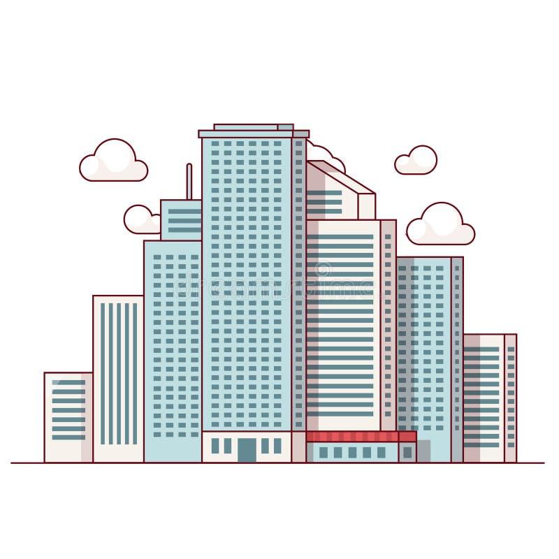 Στο κέντρο της πόλης τοπίο πόλεων με τους υψηλούς ουρανοξύστες απεικόνιση αποθεμάτων