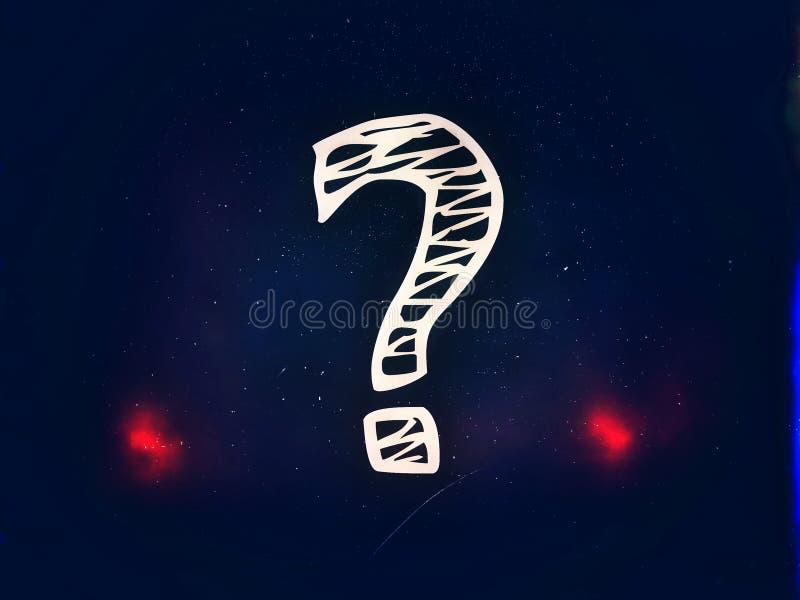 Στο σκούρο μπλε υπόβαθρο το σύμβολο του ερωτηματικού διανυσματική απεικόνιση