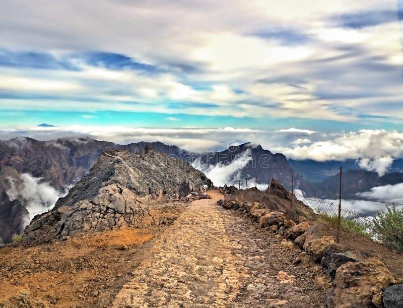 Στο υψηλότερο σημείο στο Κανάριο νησί του Λα Palma, Los Muchchos στοκ εικόνες