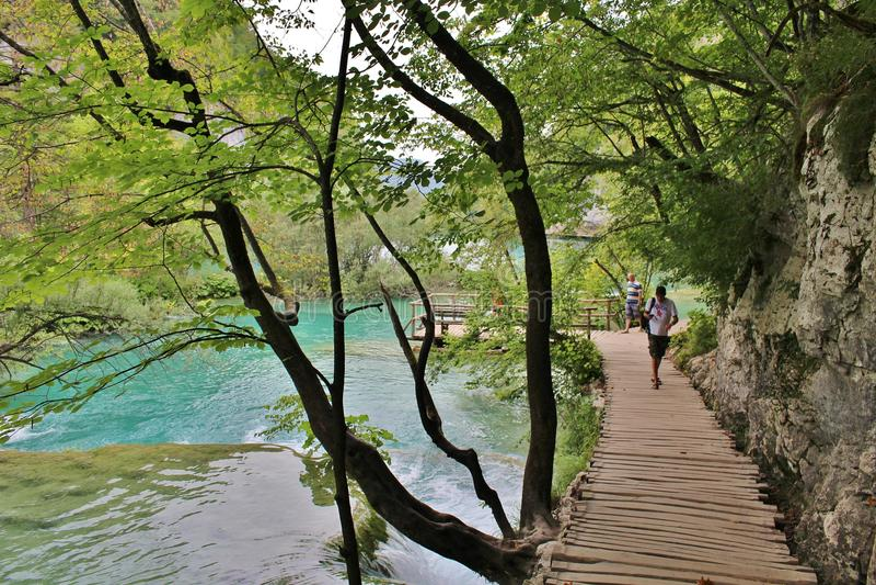 Στο φυσικό εθνικό πάρκο των λιμνών Plitvice στην Κροατία στοκ εικόνα με δικαίωμα ελεύθερης χρήσης