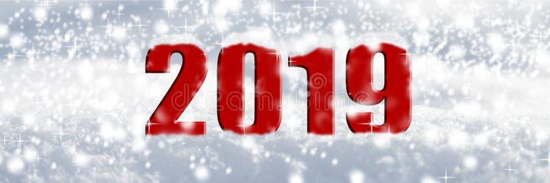 2019 στο χιόνι ελεύθερη απεικόνιση δικαιώματος