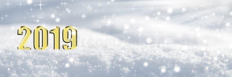 2019 στο χιόνι στοκ φωτογραφία με δικαίωμα ελεύθερης χρήσης