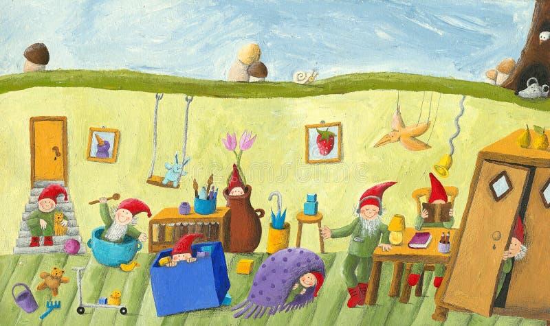Στο δωμάτιο των παιδιών νάνων απεικόνιση αποθεμάτων