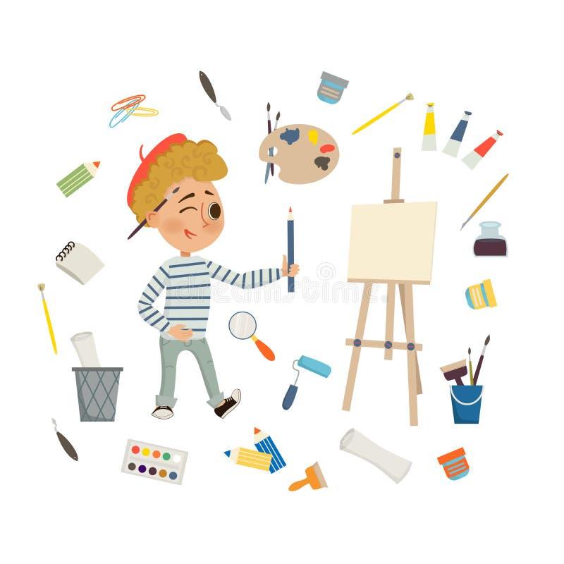 Στρέθιμο της προσοχής αγοριών καλλιτεχνών και εικόνα ζωγραφικής με τα εργαλεία τέχνης, και easel στο άσπρο υπόβαθρο Τέχνη παιδιών ελεύθερη απεικόνιση δικαιώματος