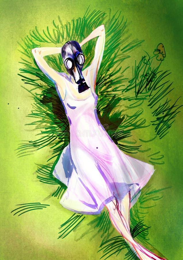 Στρέθιμο της προσοχής σε χαρτί της χαλαρώνοντας γυναίκας στη μάσκα αερίου στοκ φωτογραφίες