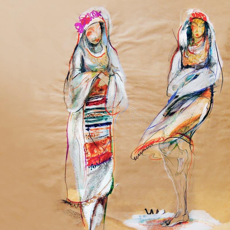 Στρέθιμο της προσοχής σε χαρτί δύο παραδοσιακών βουλγαρικών γυναικών διανυσματική απεικόνιση