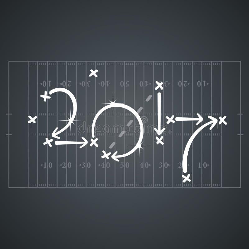 Στρατηγικές αμερικανικού ποδοσφαίρου για υπόβαθρο πινάκων στόχου 2017 το μαύρο ελεύθερη απεικόνιση δικαιώματος